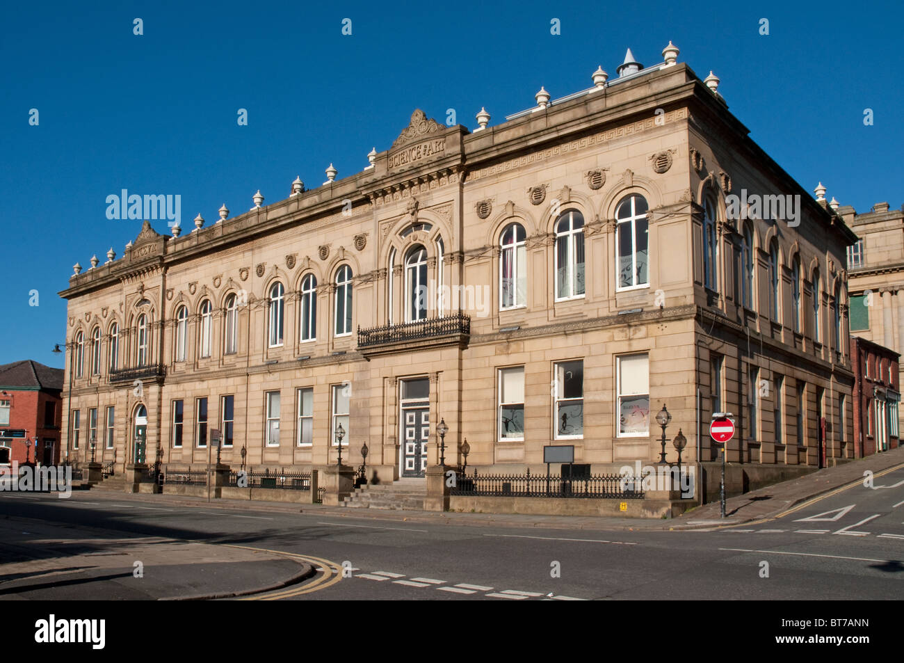 The Lyceum Oldham,Grade II listed opened in 1856 included reading rooms,library and class rooms.refurbished in 1989. - Stock Image