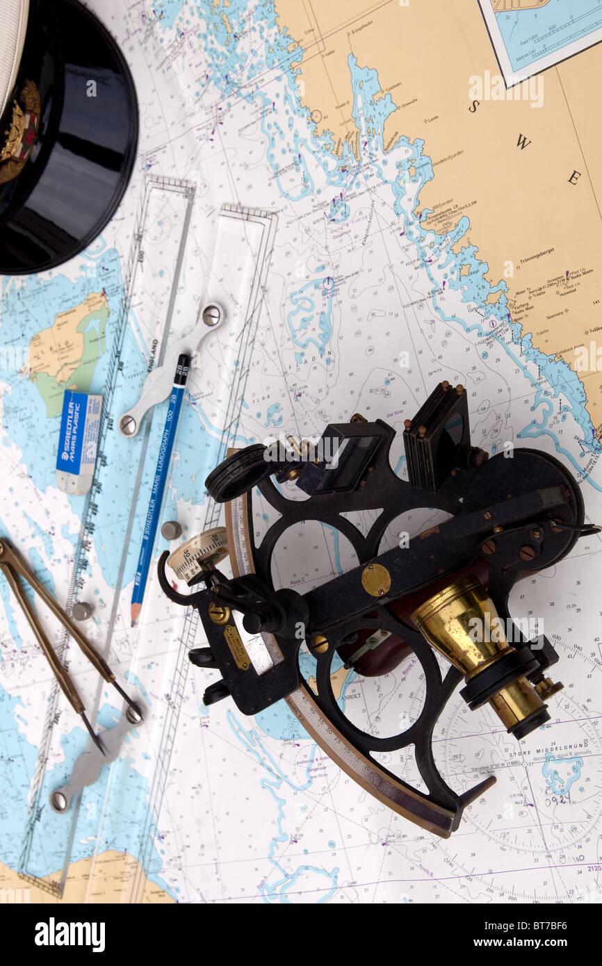 Marine navigation instruments. Entrance to the kattegat. Baltic sea - Stock Image