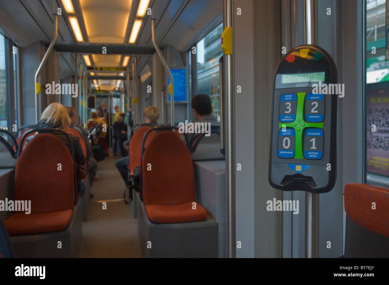 Electronic validating point and card reader on a tram in Helsinki Finland Europe - Stock Image