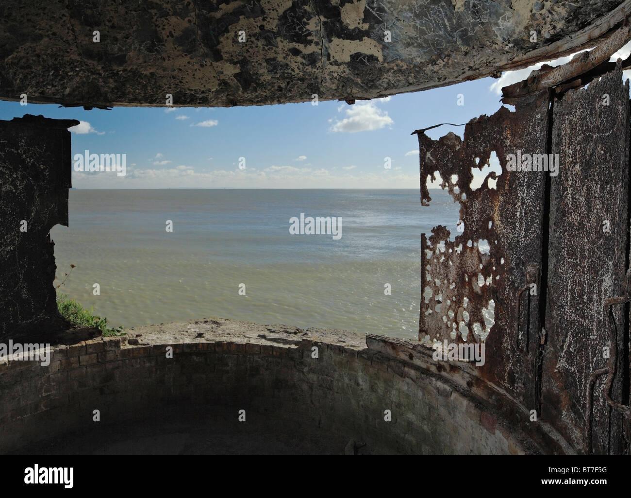 World War I & II searchlight Battery at Langdon Bay, Dover Cliffs, Kent, England, UK. - Stock Image