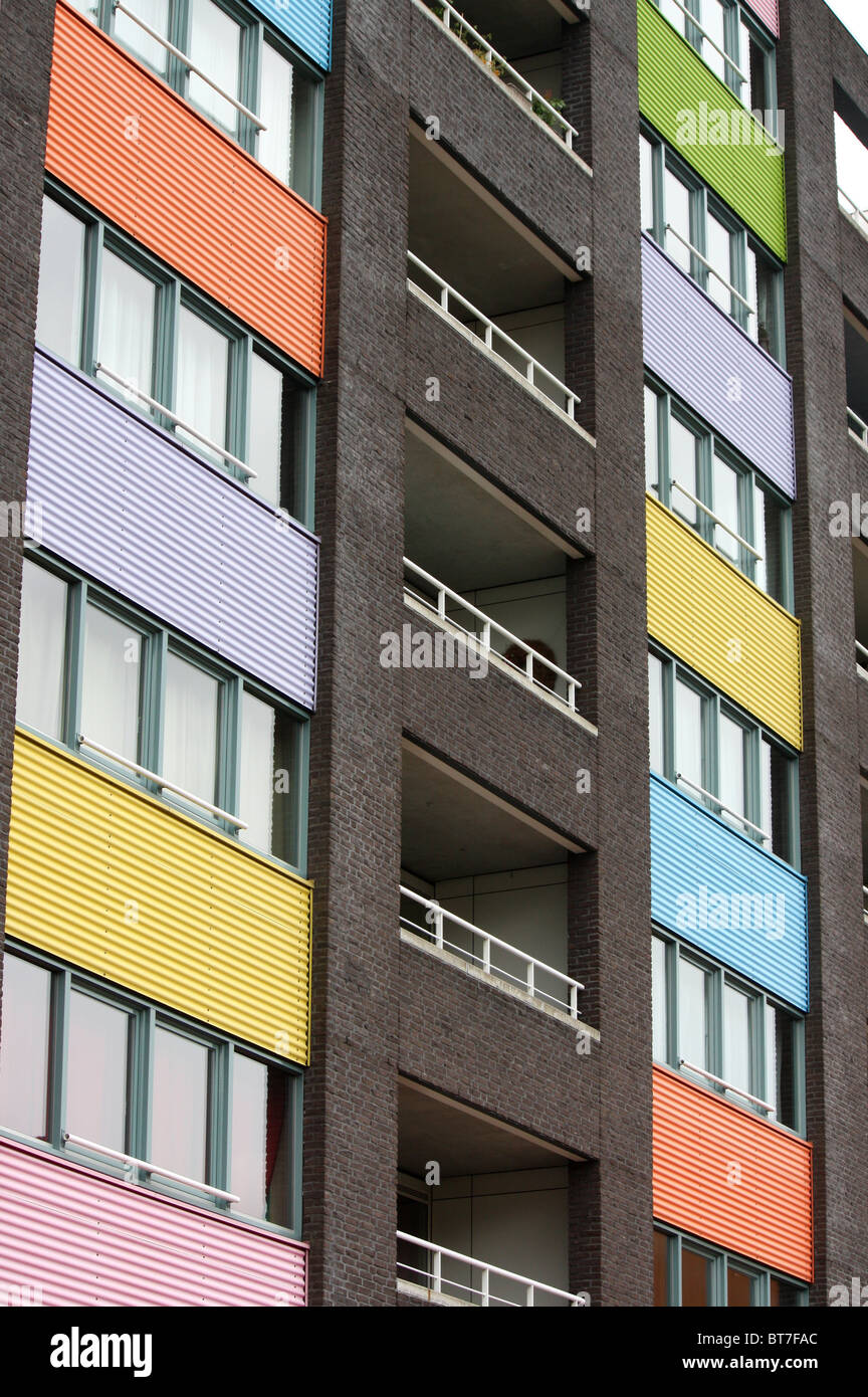 modern facades on the Java Eiland in Amsterdam, located in Amsterdam Eastern Dockalnds known for its modern architecture - Stock Image