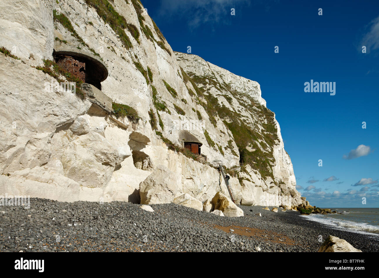 World War I & II searchlight battery protecting Dover harbour at Langdon Bay, Dover Cliffs, Kent, England, UK. - Stock Image