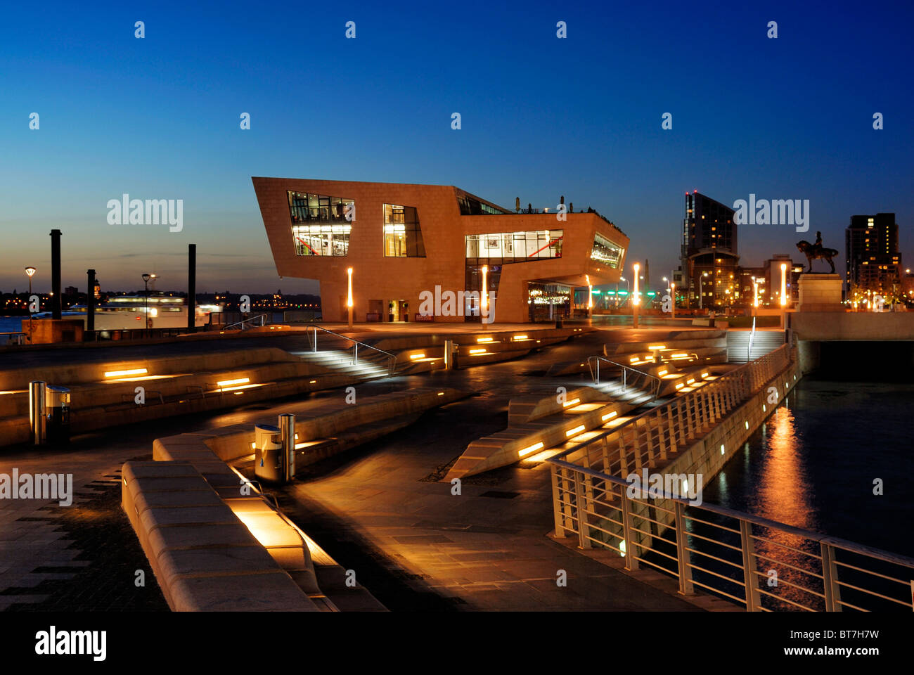 The New Ferry Terminal situated on the banks of the River Mersey at Pier Head in Liverpool which hosts the Beatles - Stock Image