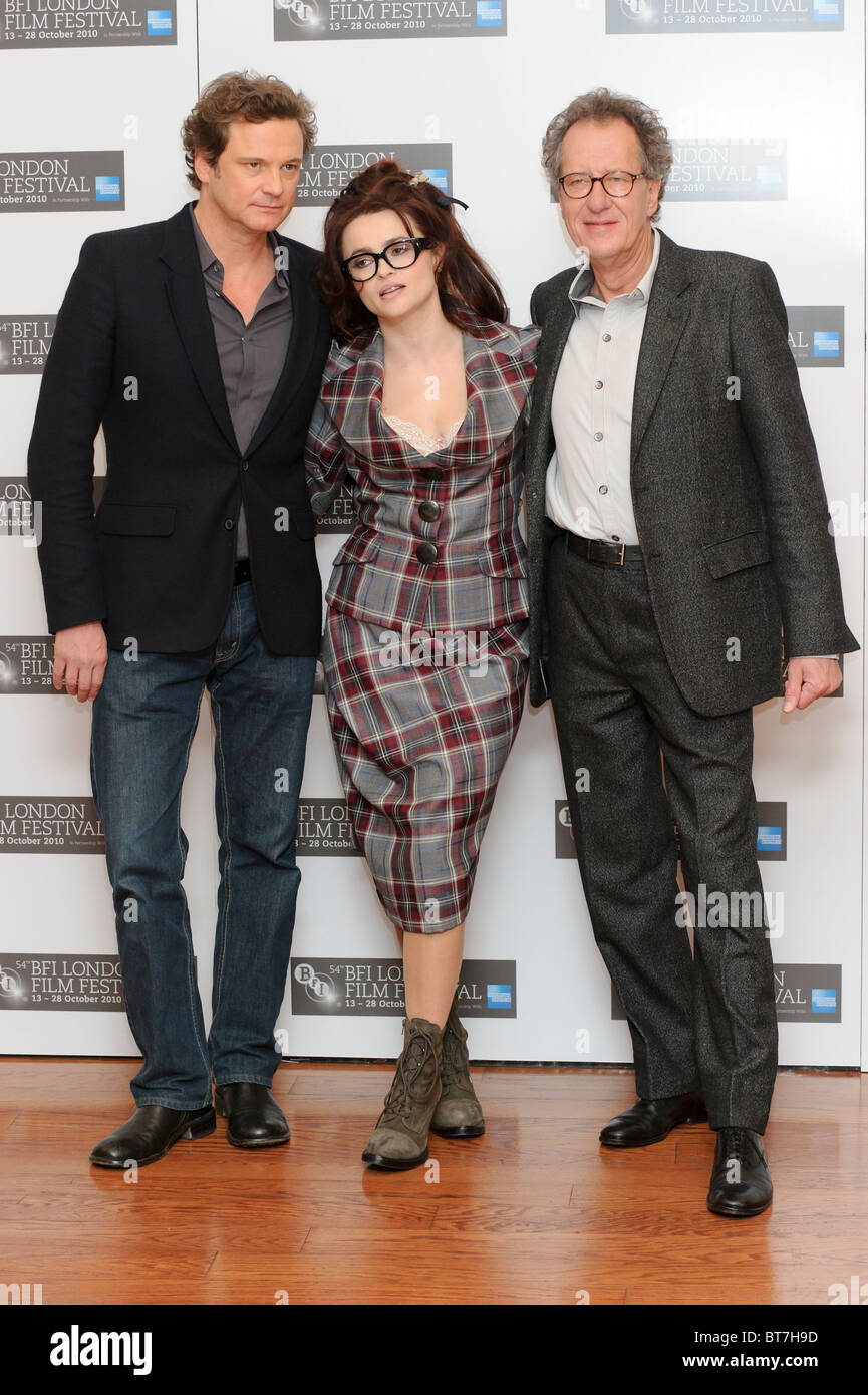 Colin Firth, Helena Bonham Carter and Geoffrey Rush attends the King's Speech photocall, at VUE, London, 21st - Stock Image
