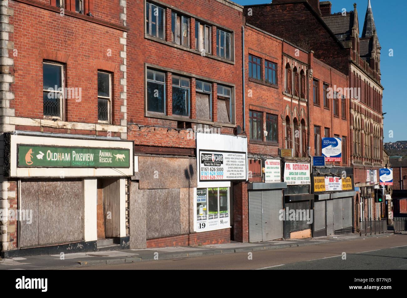 Retail and commercial premises Yorkshire Street,Oldham,Greater Manchester. - Stock Image