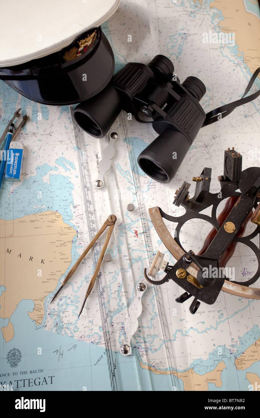 Marine navigation instruments. Entrance to the kattegat. - Stock Image