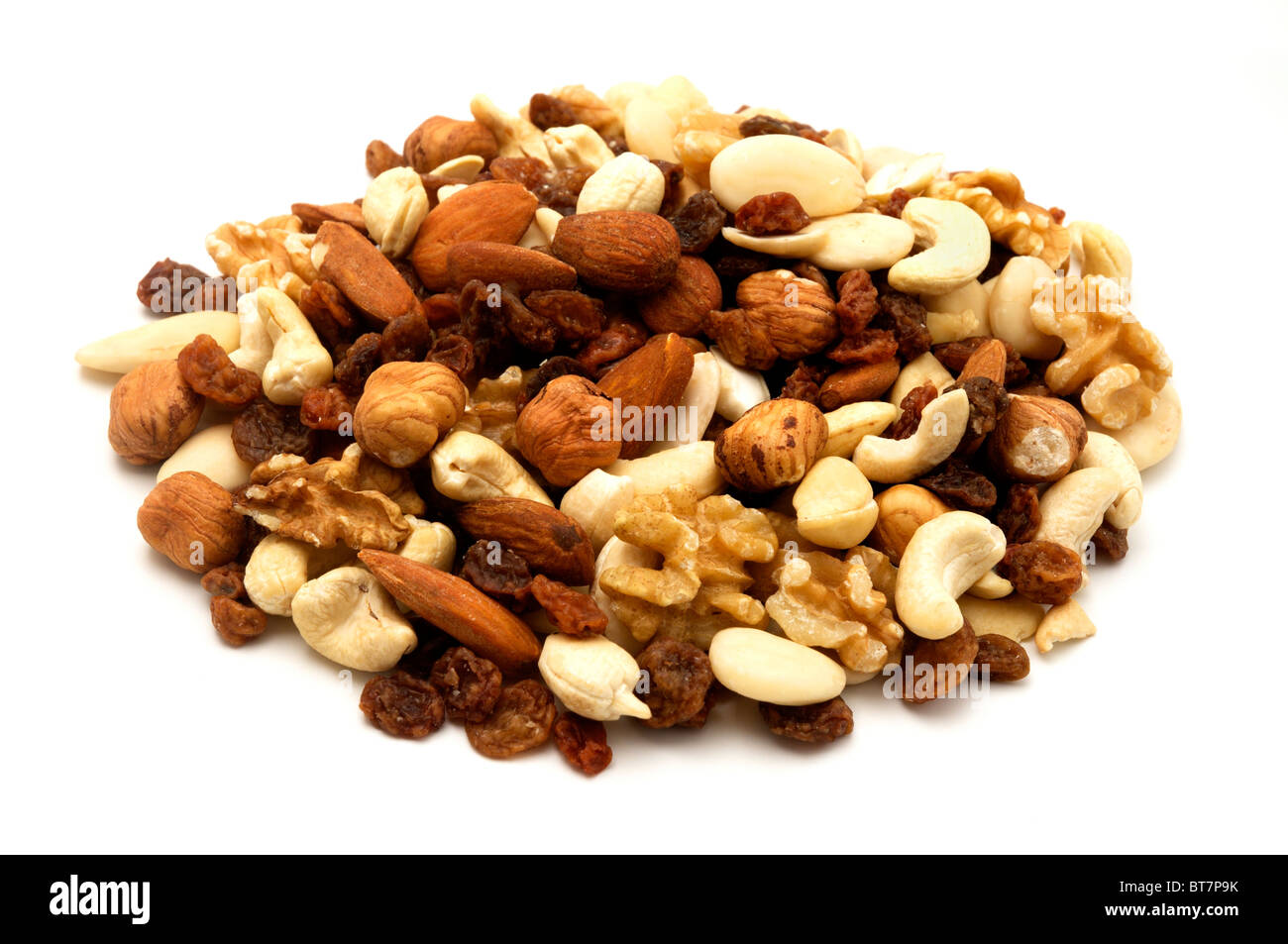 Trail mix on a white background - Stock Image