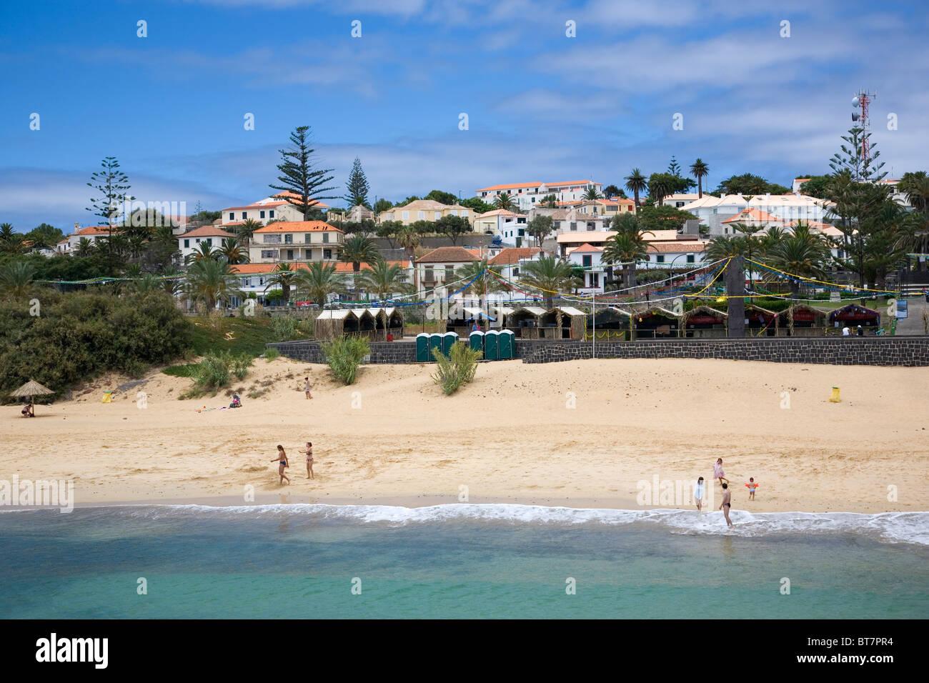 Beach at Vila Baleira, Main town in Porto Santo - Stock Image