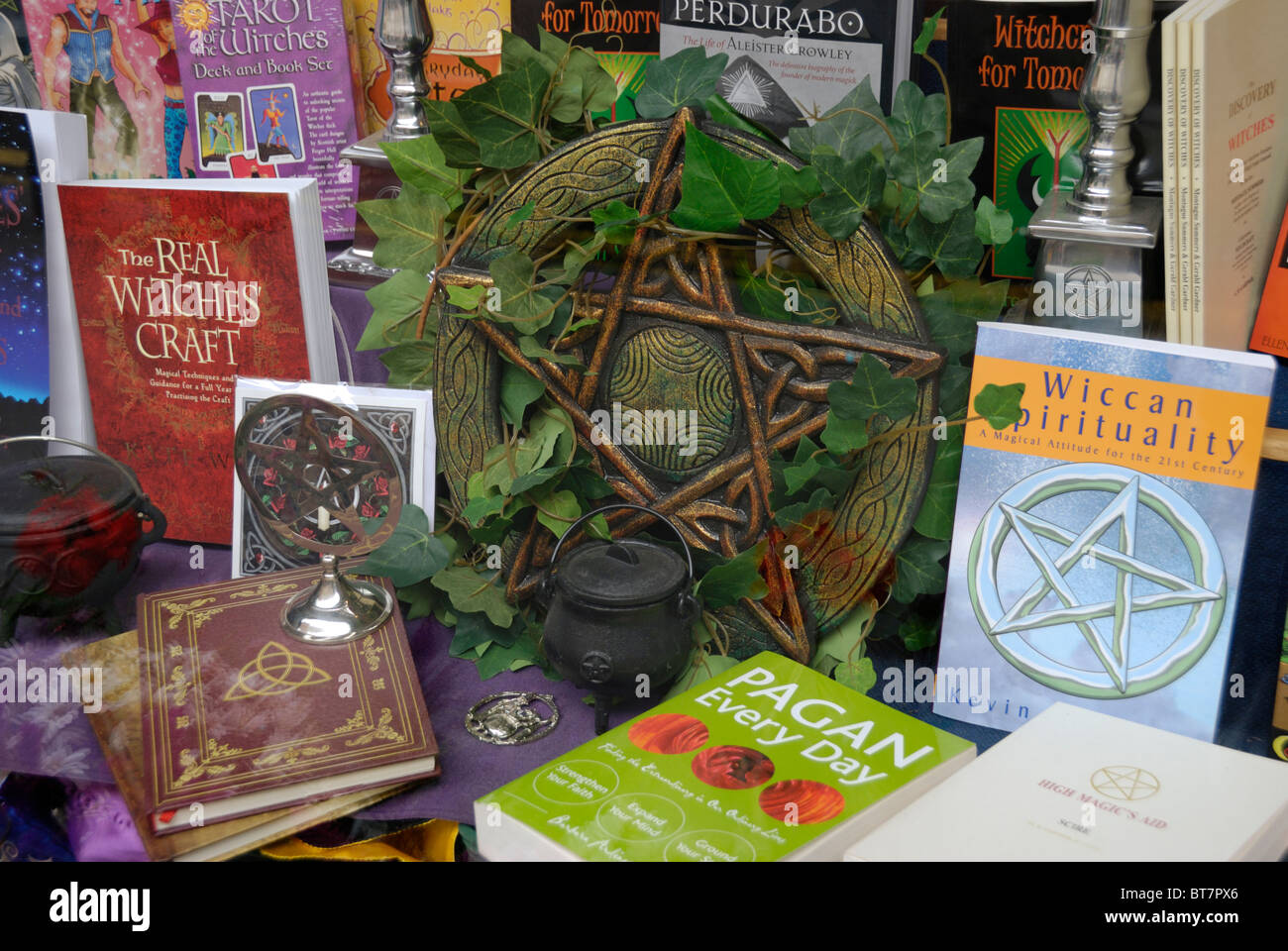 Shop window display of books on Wicca and Paganism - Stock Image