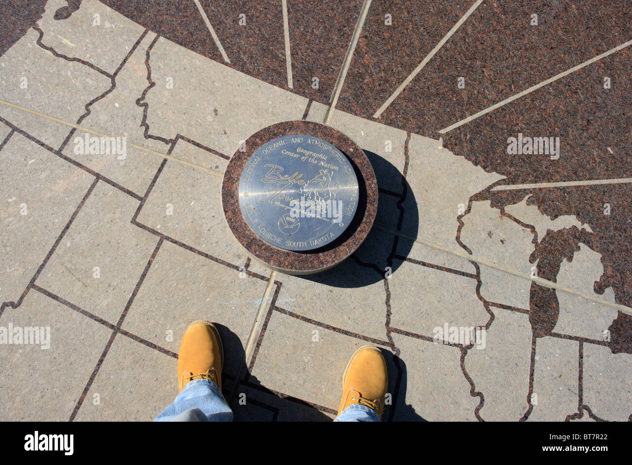 Survey marker in Belle Fourche, South Dakota designating it as the geographic center of the United States. - Stock Image