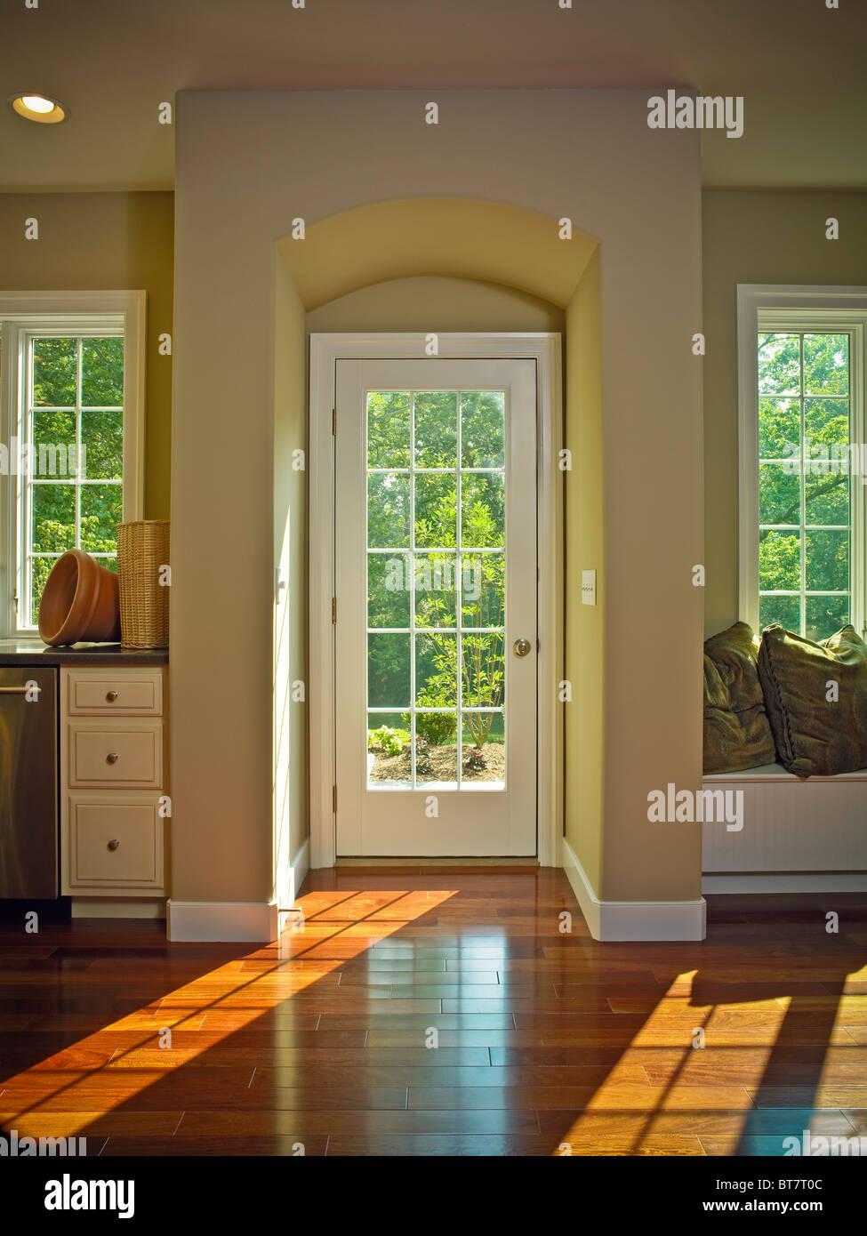 Room French Door Alcove Window Hardwood Floor Shadows Flooring   Stock Image