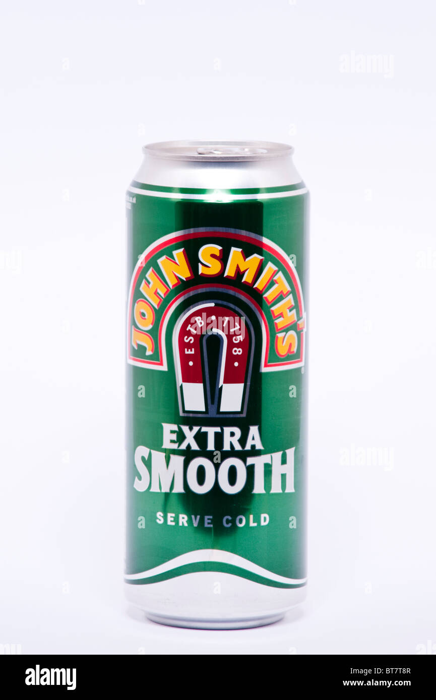 A close up photo of a can of John Smiths extra smooth bitter beer drink against a white background - Stock Image