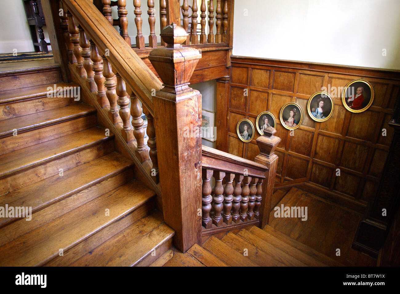 Oak Staircase In An English Manor House.   Stock Image