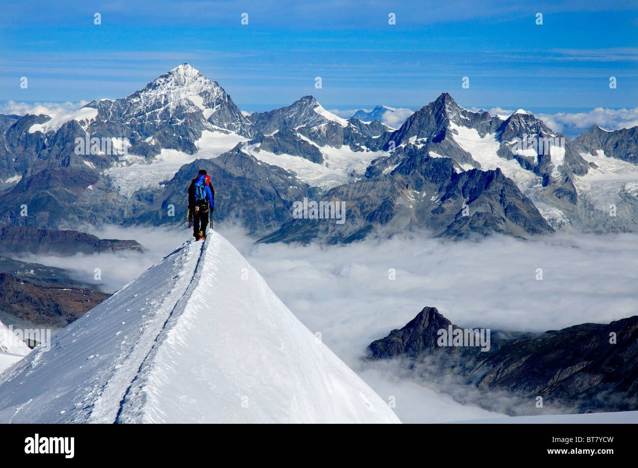 A team of climbers on the narrow Parrotspitze on Monte Rosa in Switzerland - Stock Image