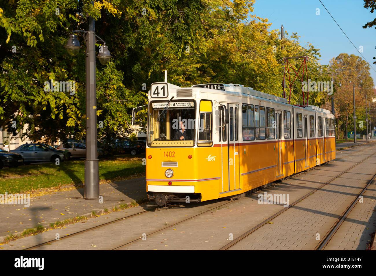 Traditional yellow Budapest Tram, Hungary - Stock Image