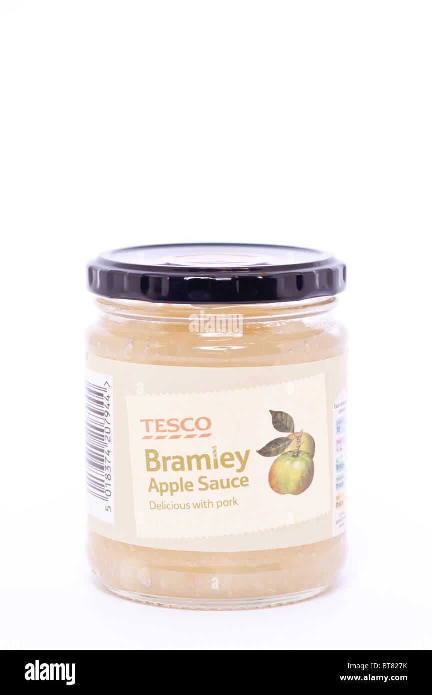 A close up photo of a jar of Tesco bramley Apple Sauce against a white background - Stock Image
