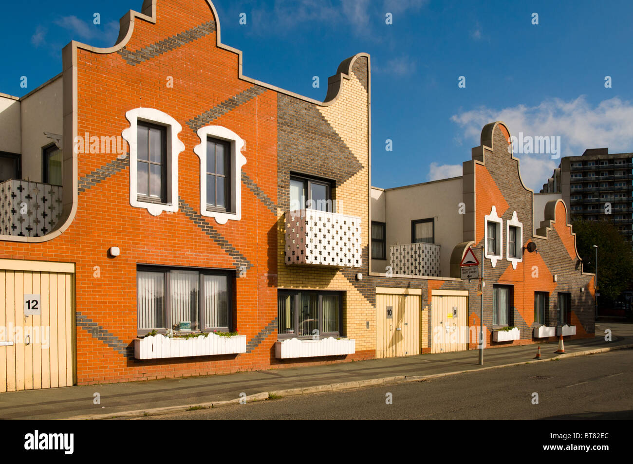 Social housing development, designed by FAT, at New Islington Square, Manchester, England, UK - Stock Image