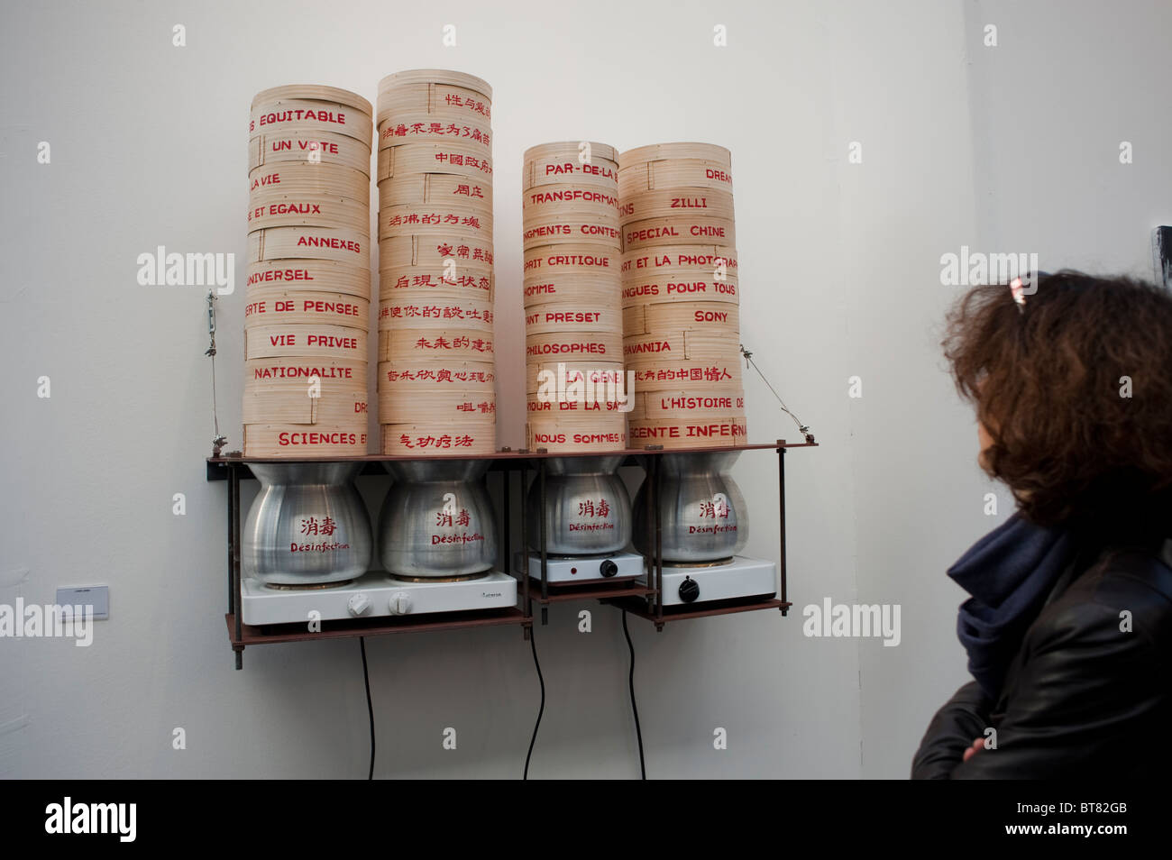 Paris, France, Contemporary Art Exhibit, Modern Art, Chinese Sculpture, 'Chen Zhen' FIAC Arts SHow, on display - Stock Image