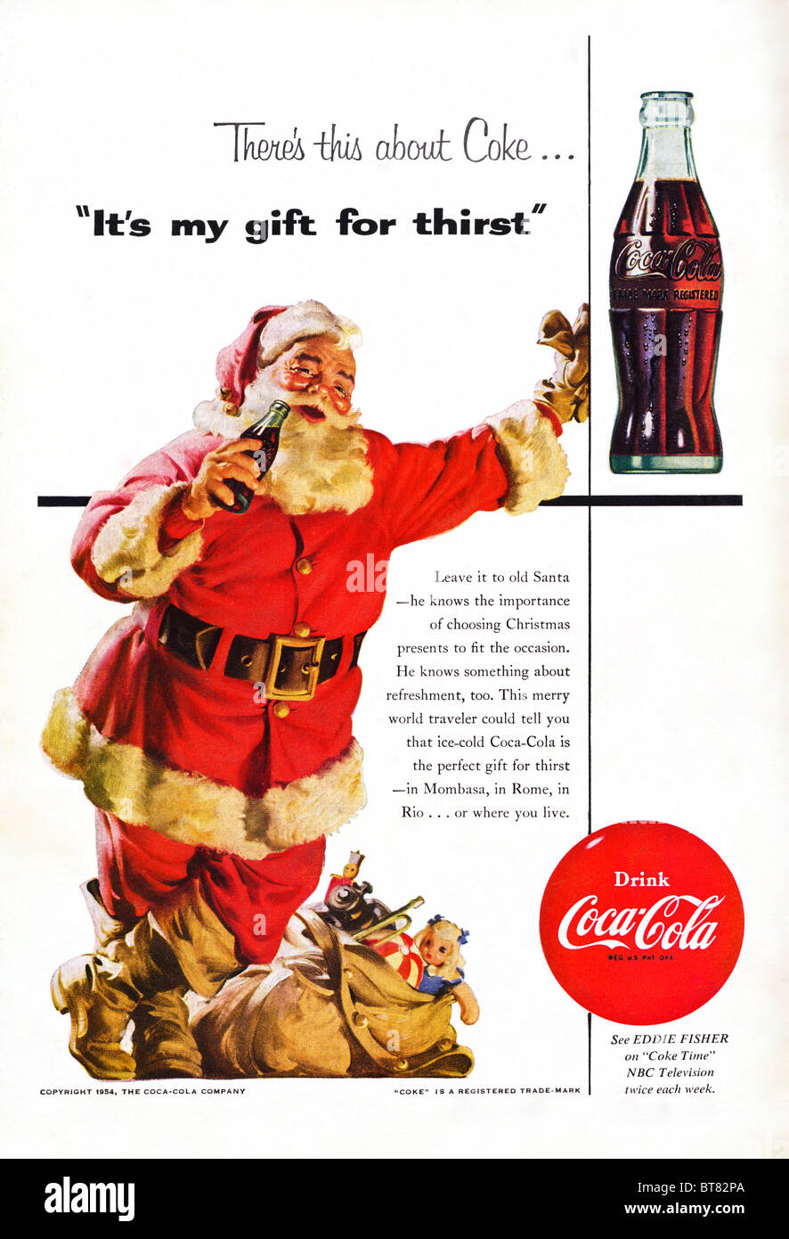 Classic advert in American magazine for Coca Cola featuring Father Christmas December 1954 - Stock Image
