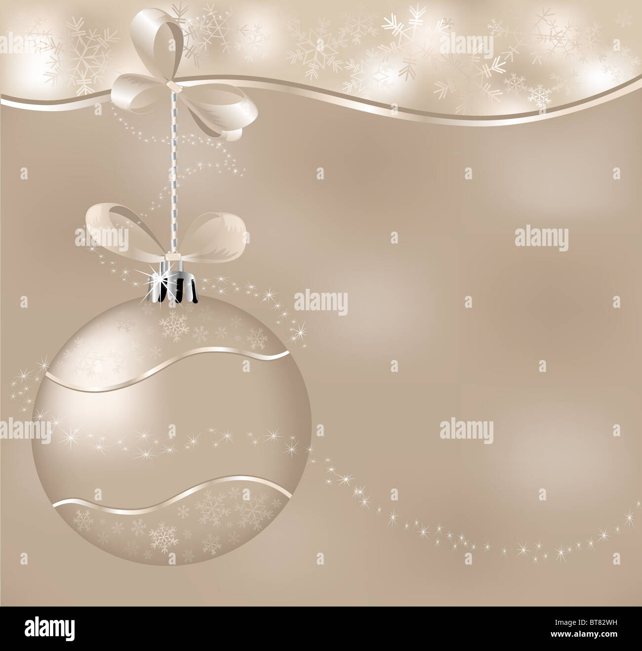 christmas background with one ball and asterisks - Stock Image