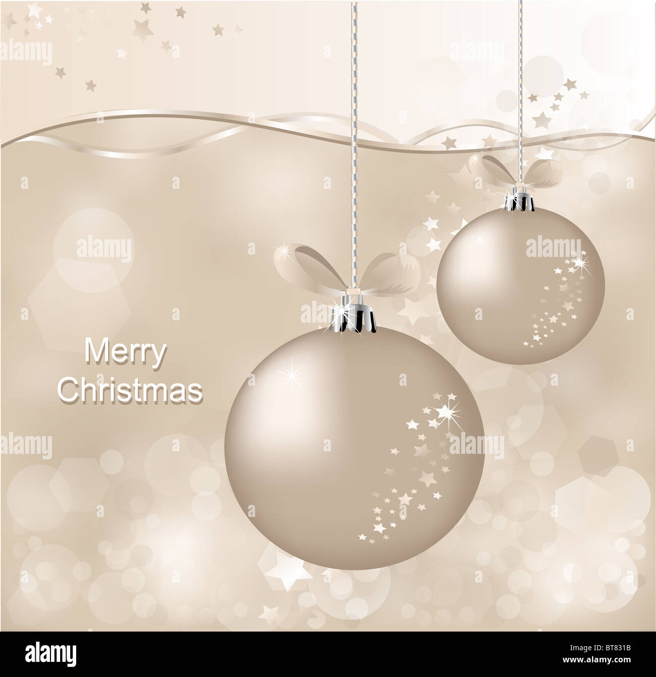 christmas background with ball and asterisks - Stock Image