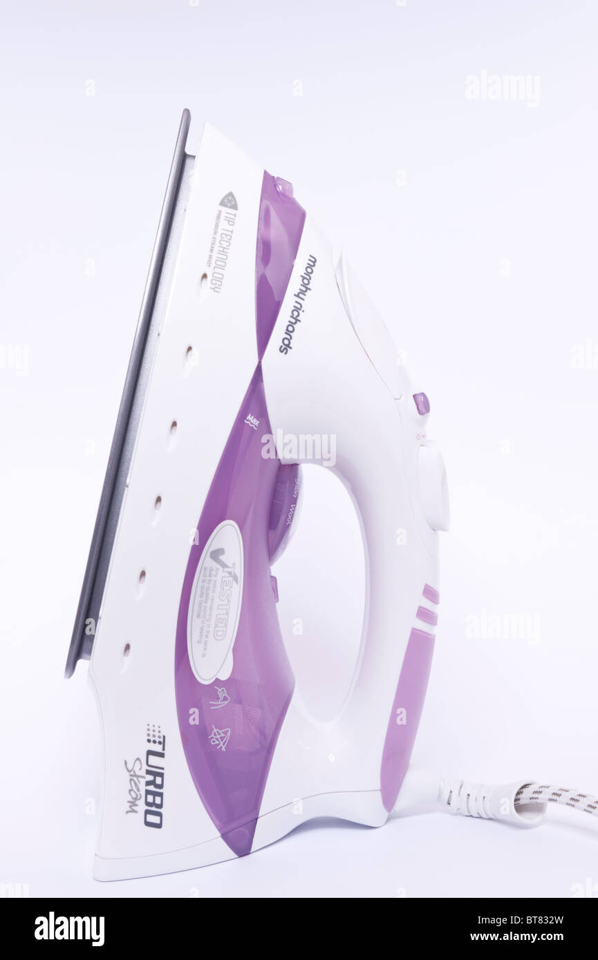 A close up photo of a Morphy richards turbo steam iron against a white background - Stock Image