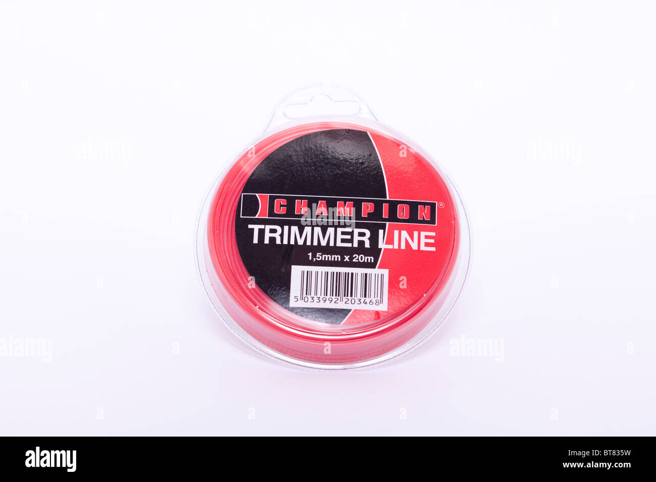 A close up photo of a pack of champion trimmer line for strimmers against a white background - Stock Image
