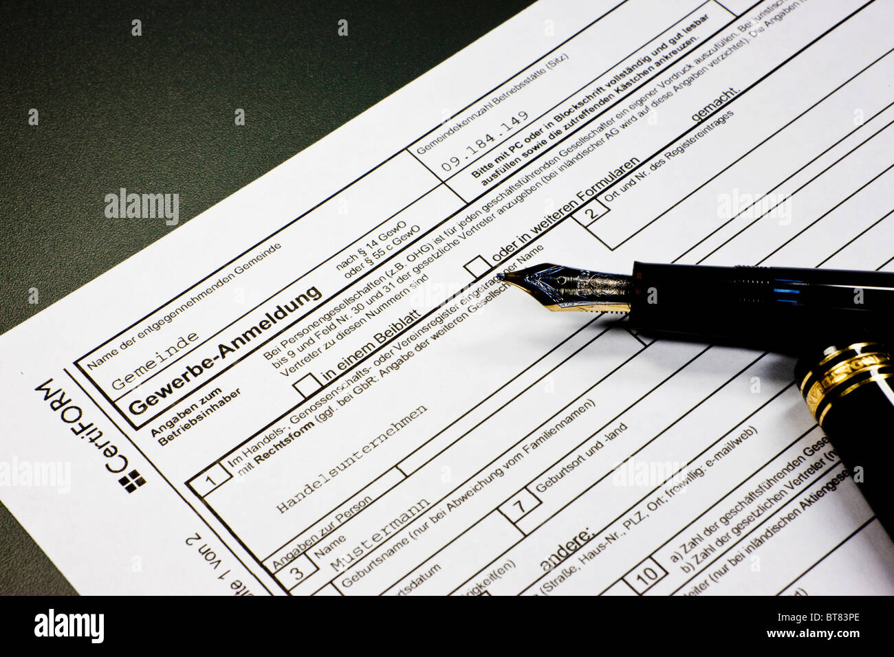 German formula to register a business at the trade licensing office Stock Photo