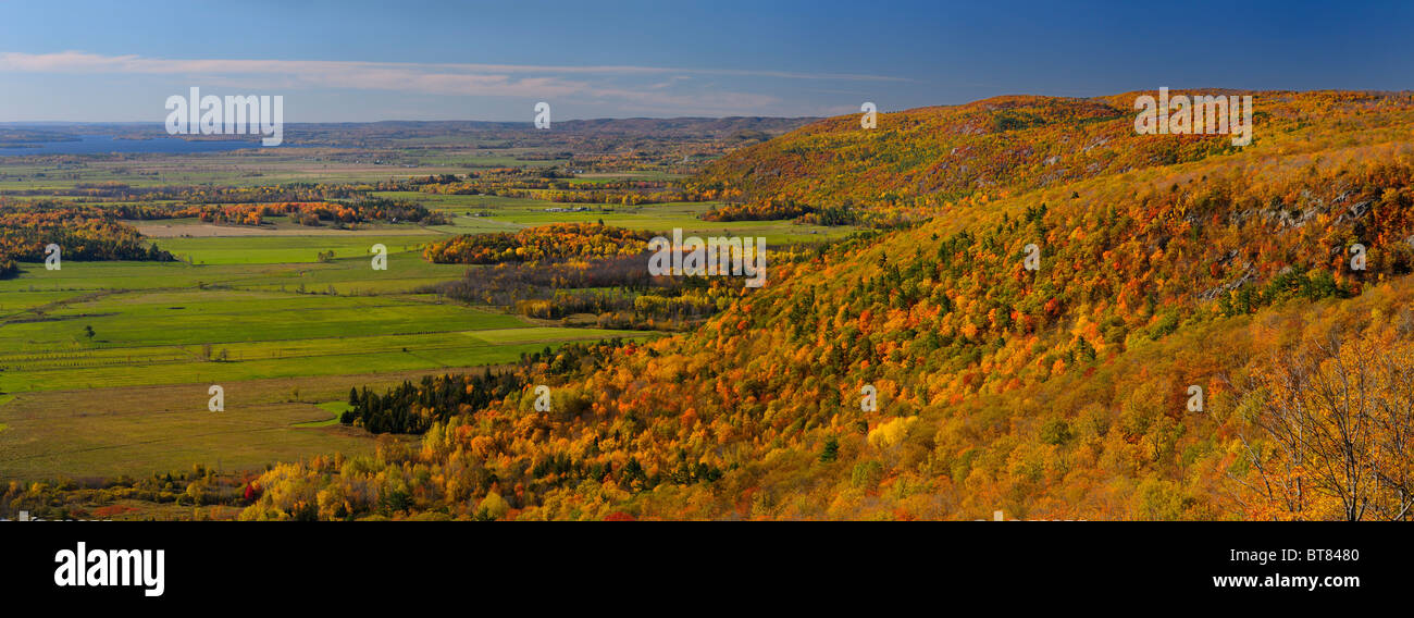Panorama of The Eardley Escarpment and Ottawa River valley lowland at Champlain Lookout Gatineau Park Quebec Canada - Stock Image