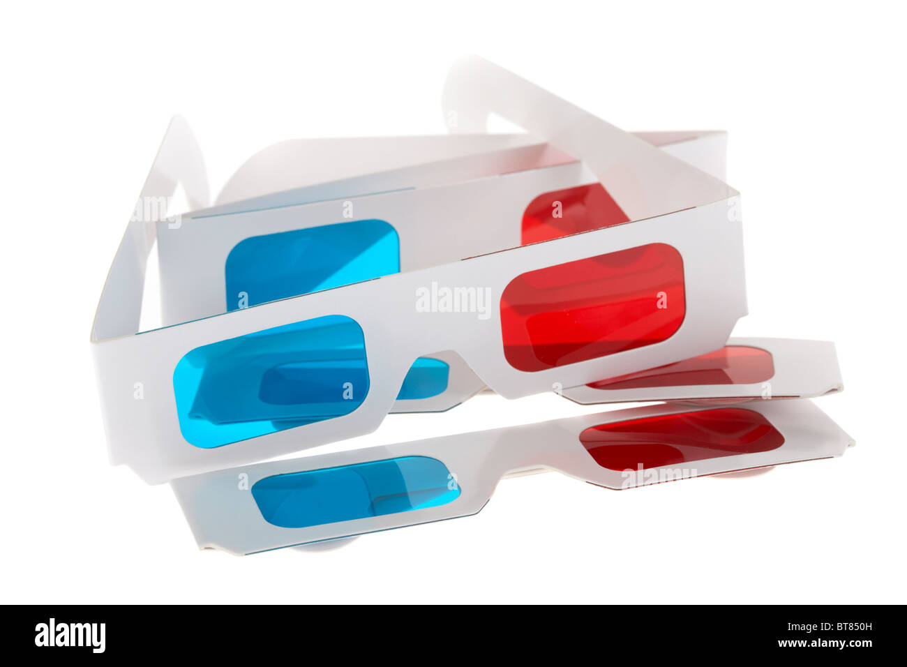 3d red cyan glasses on white background - Stock Image