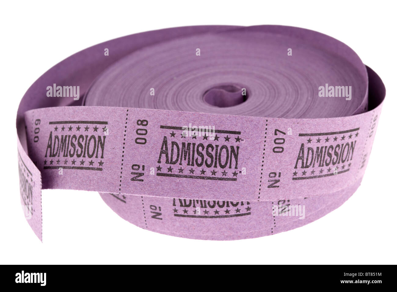 roll of old style cinema admission tickets on white background - Stock Image