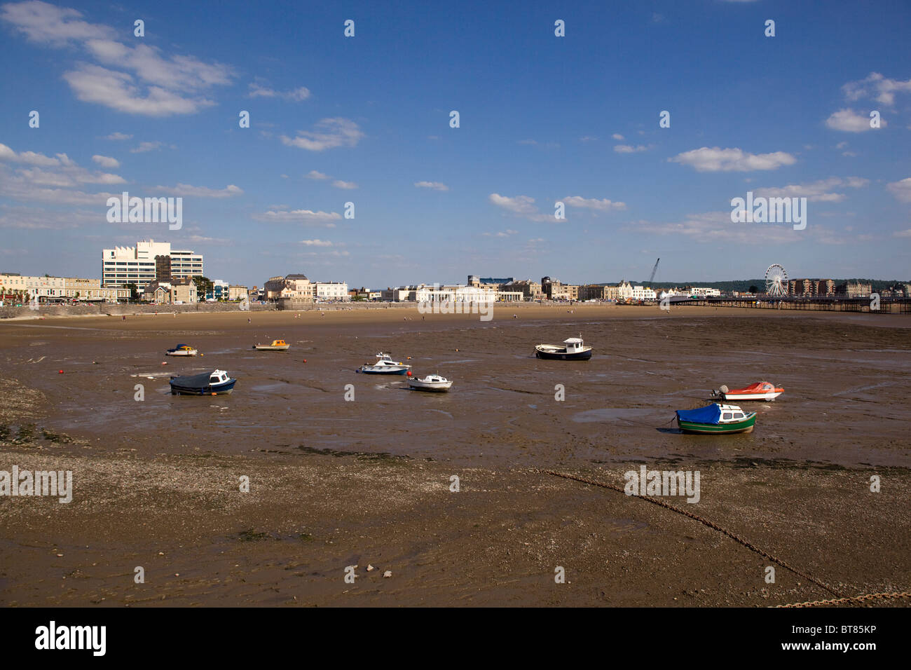 Beach with Tide out at Weston Super Mare - Stock Image