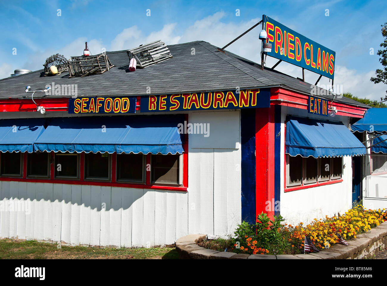 Seafood shack near York, Maine, USA - Stock Image