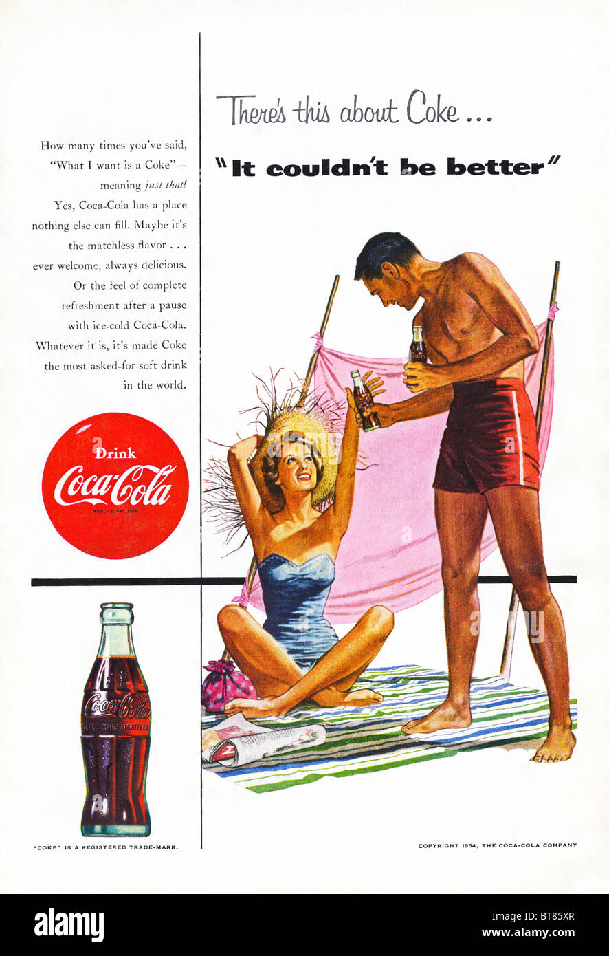 Classic advert in American magazine for Coca-Cola July 1954 - Stock Image