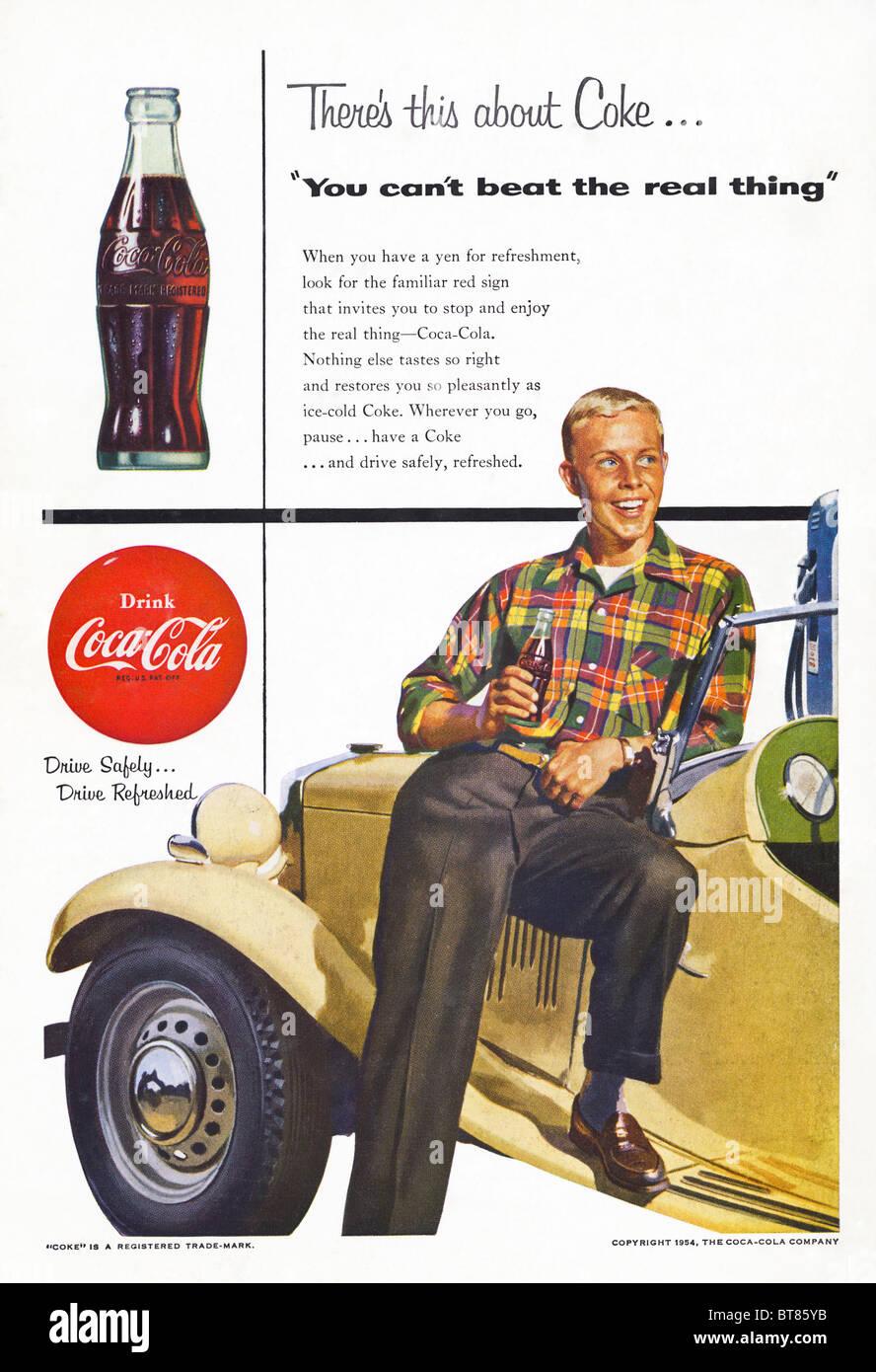 Classic advert in American magazine for Coca-Cola June 1954 - Stock Image