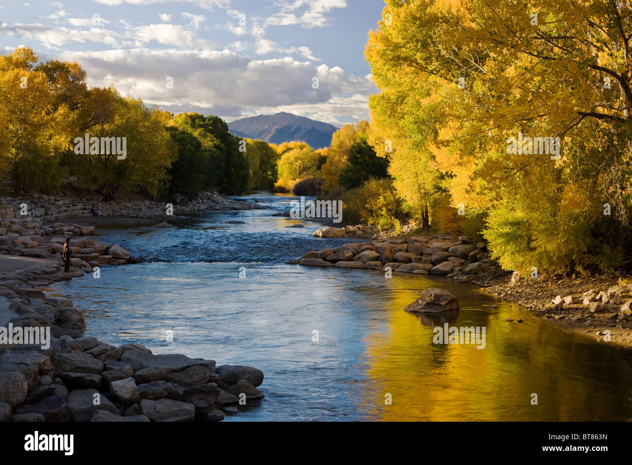 Autumn view of fall colors along the Arkansas River in the small mountain town of Salida, Colorado, USA - Stock Image