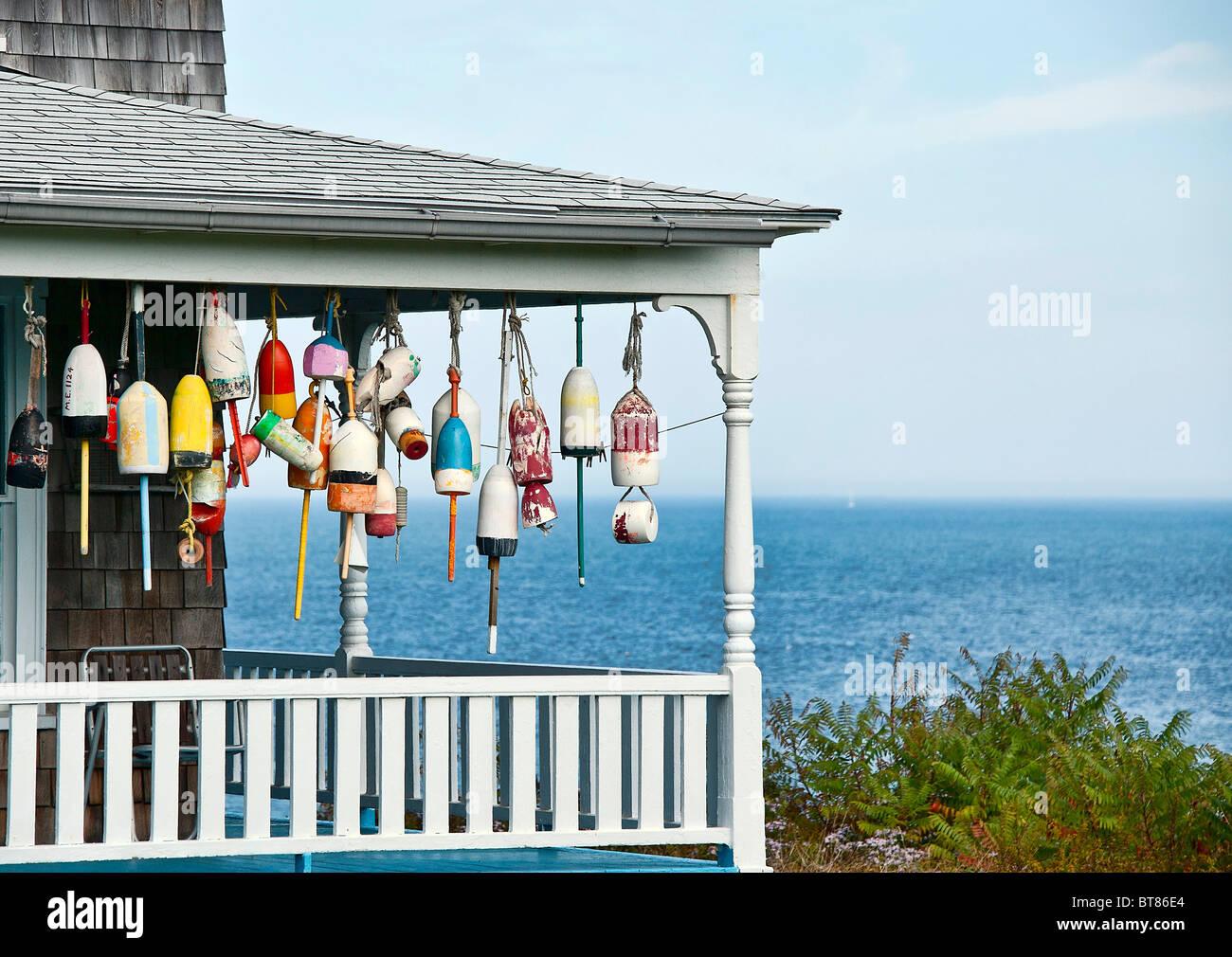 Decorative Buoys On Waterfront Porch York Maine Stock