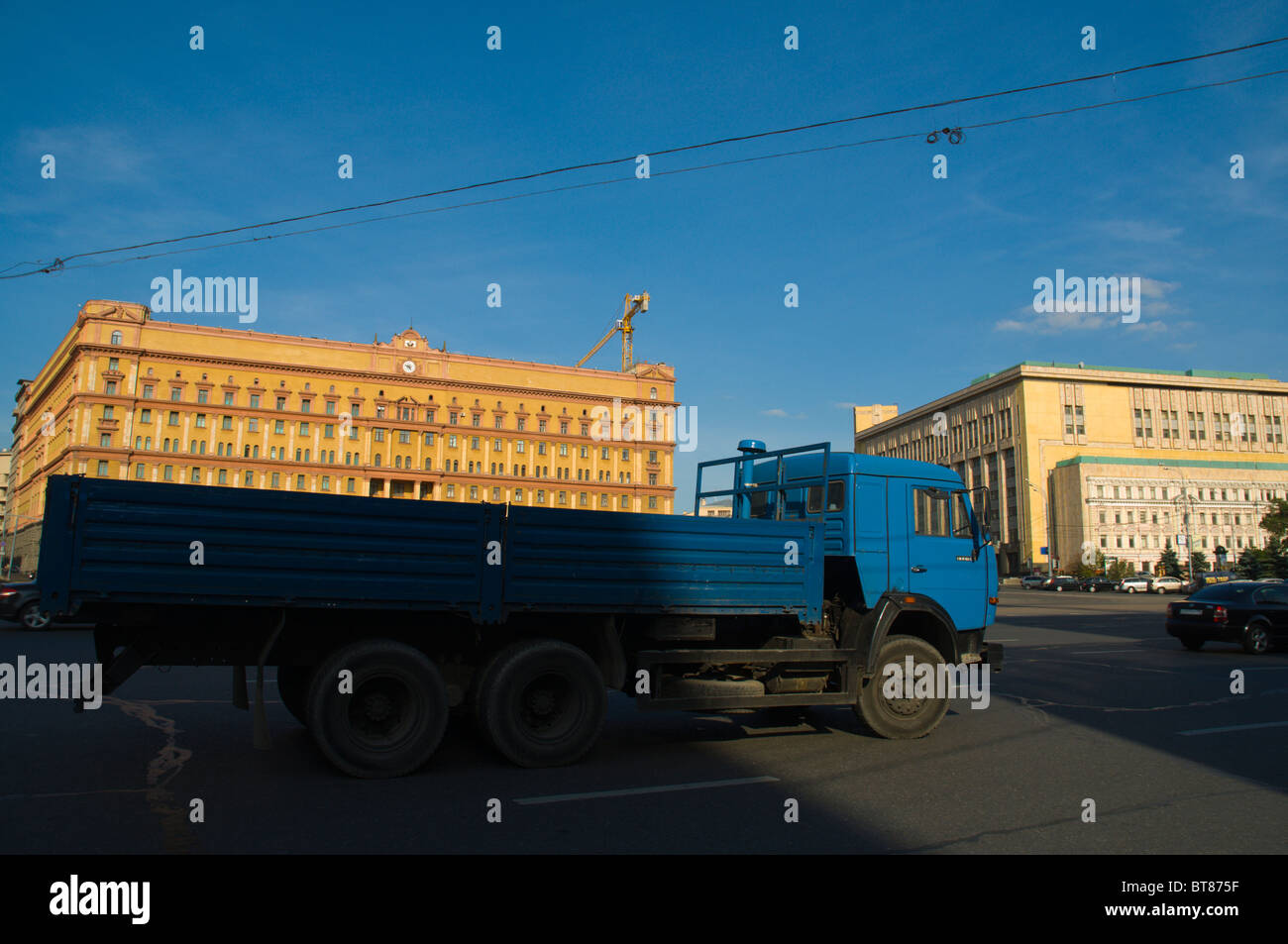 Traffic pl Lubyanskaya square Moscow Russia Europe - Stock Image