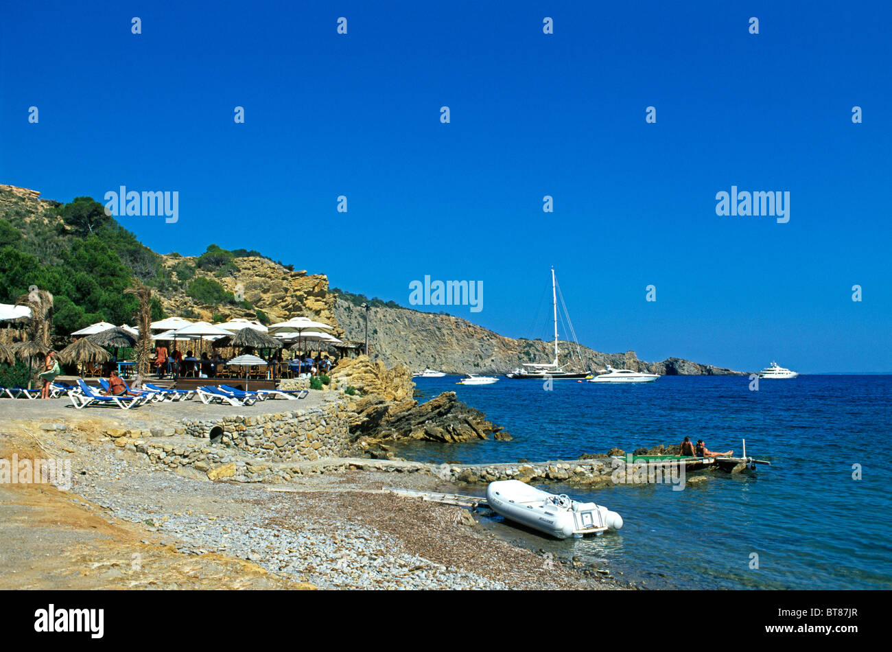 Rocky coast near Sa Caleta, Ibiza, Balearic Islands, Spain - Stock Image