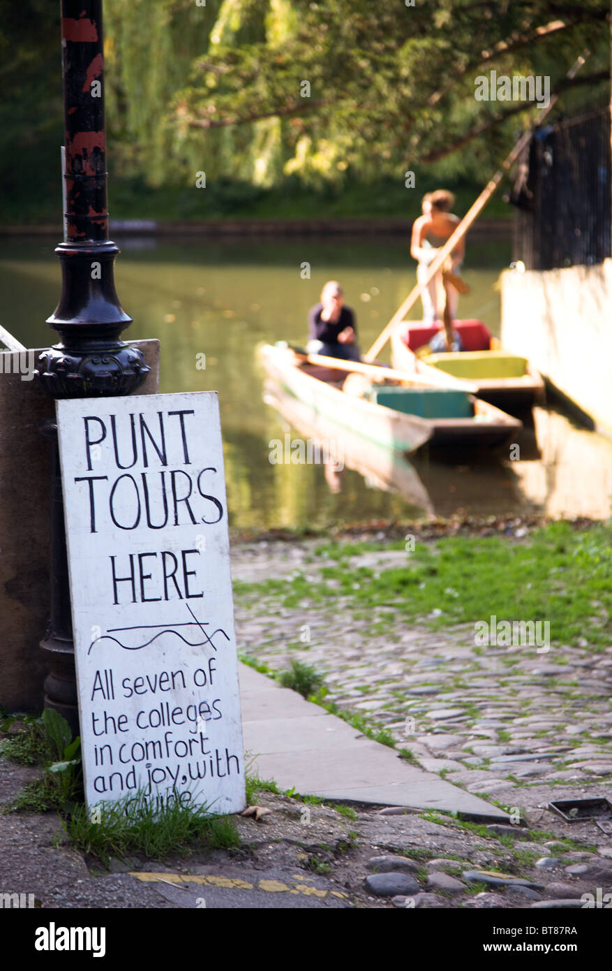 Sign for Punting on the Cam in Cambridge - Stock Image