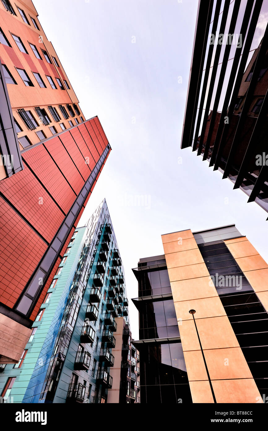 Modern buildings in Leeds City centre, Yorkshire - Stock Image