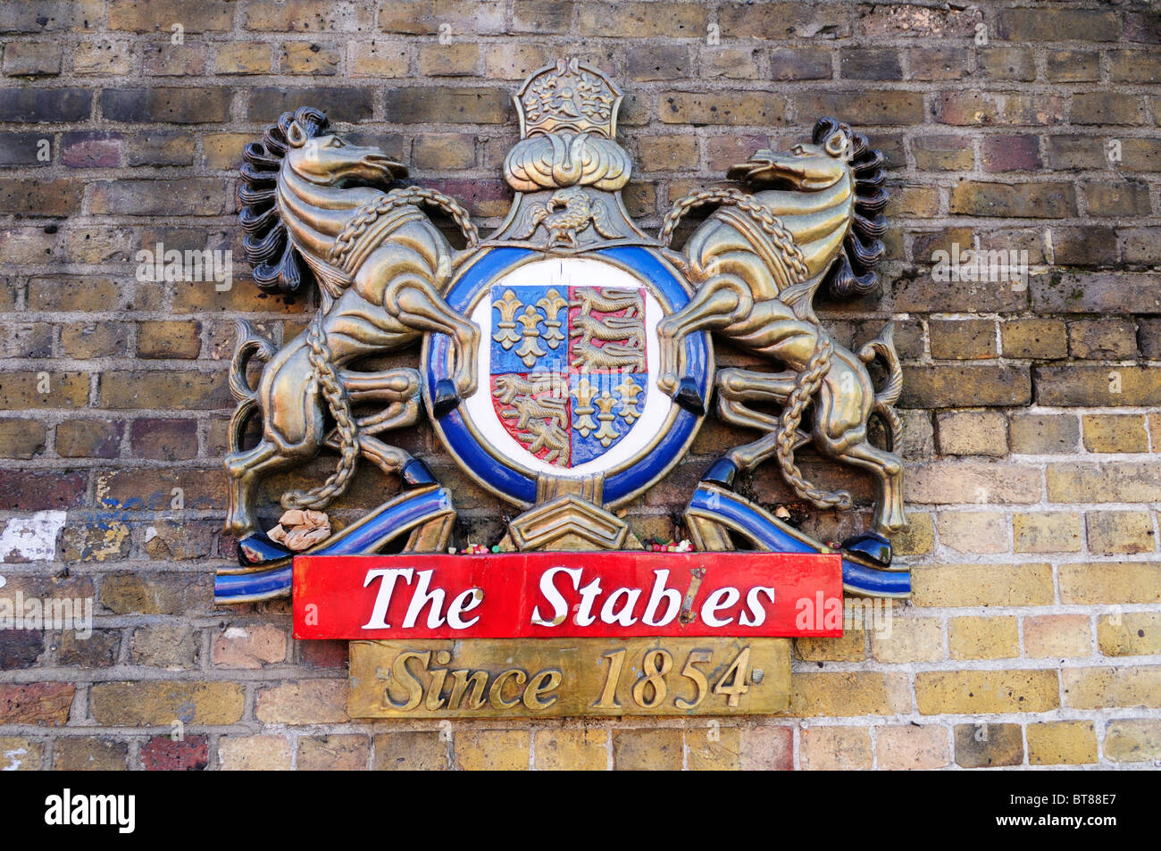 The Stables Since 1854 Camden Market sign, London, England, UK - Stock Image