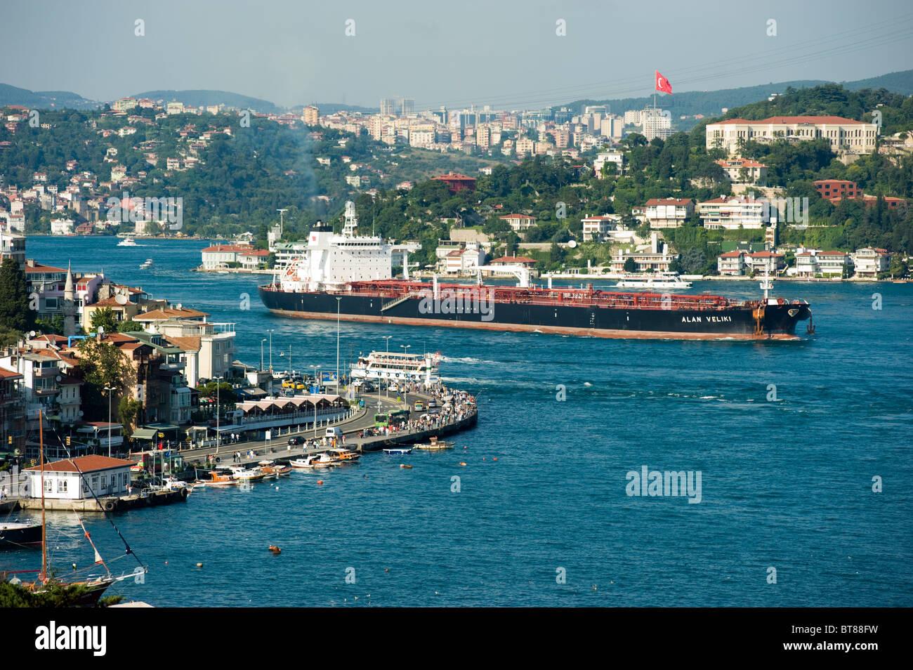 Oil tanker crossing Bosporus Strait Istanbul Turkey - Stock Image
