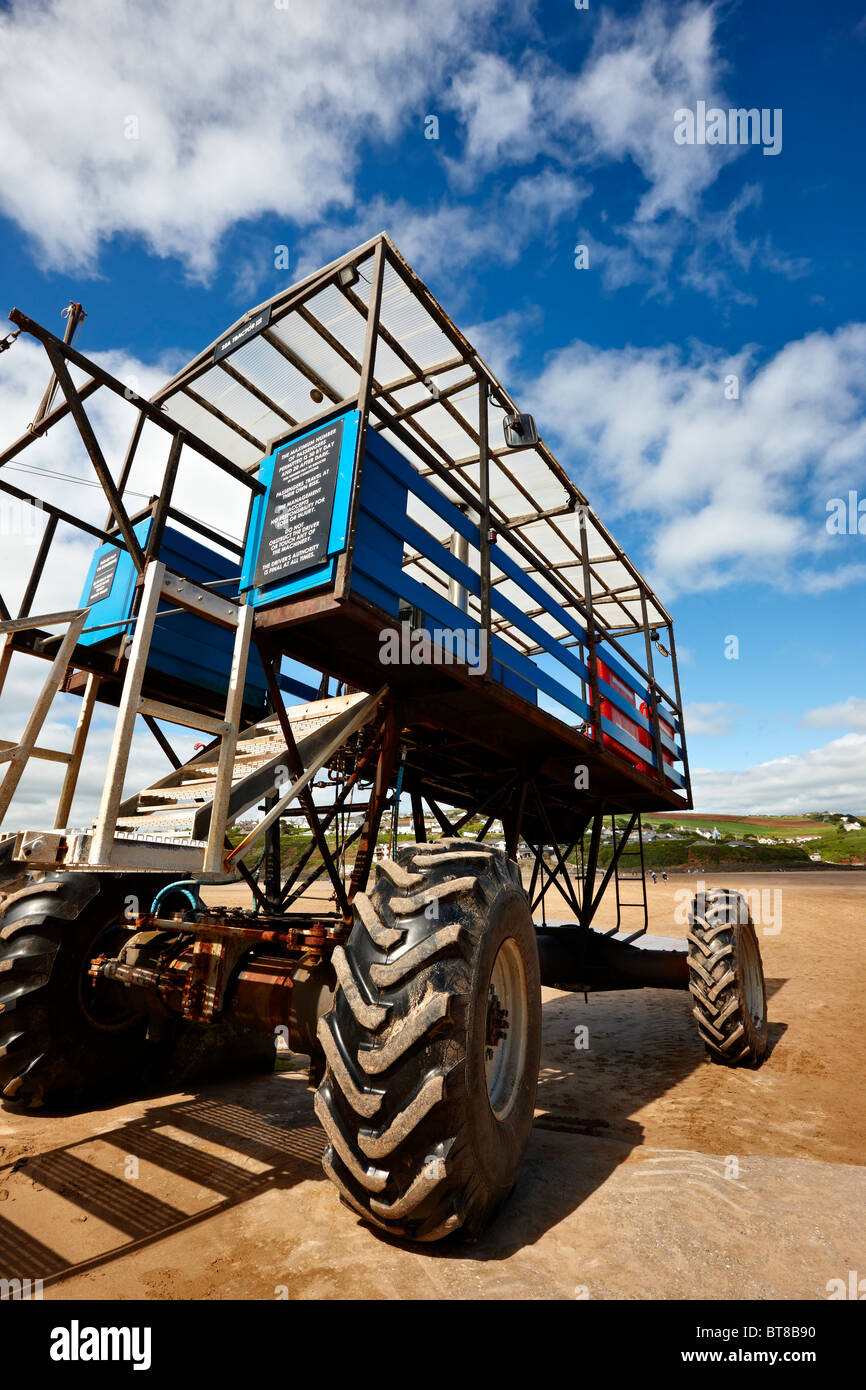 Sea tractor for transporting people between Burgh Island and Bigbury on sea, Devon - Stock Image