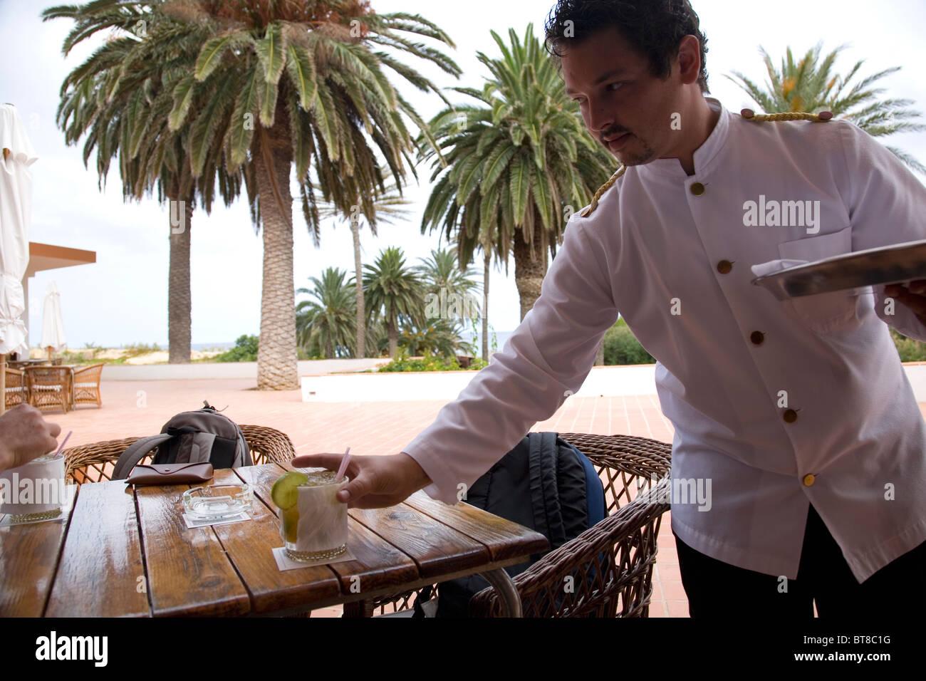 Hotel Porto Santo Waiter - Stock Image