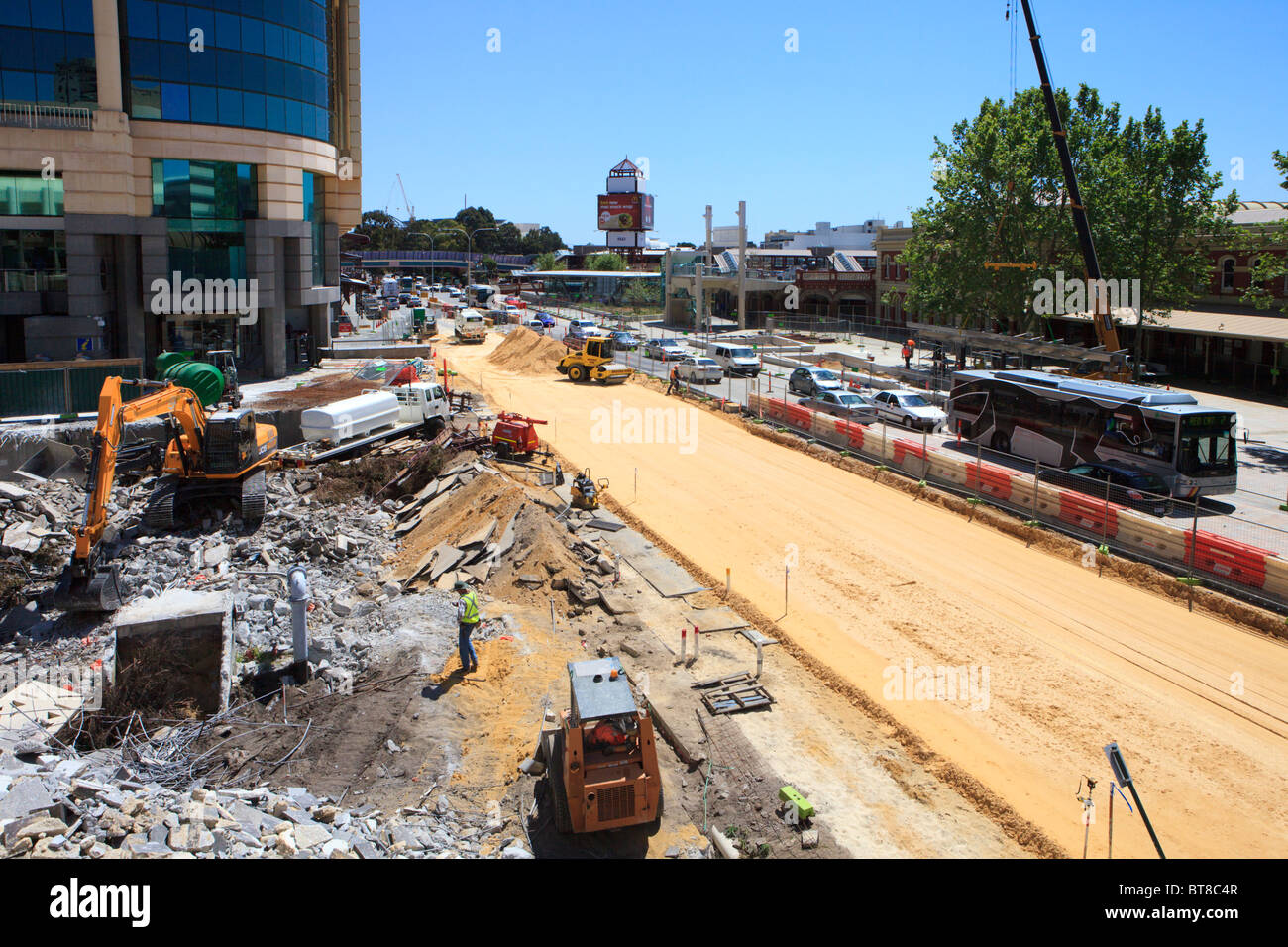 Wellington Street and Forrest Chase redevelopment in Perth, Western Australia - Stock Image