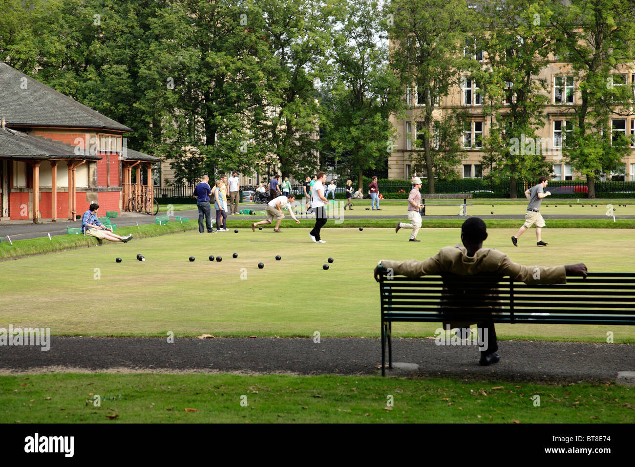 Playing Lawn Bowls in, Scotland, UK - Stock Image