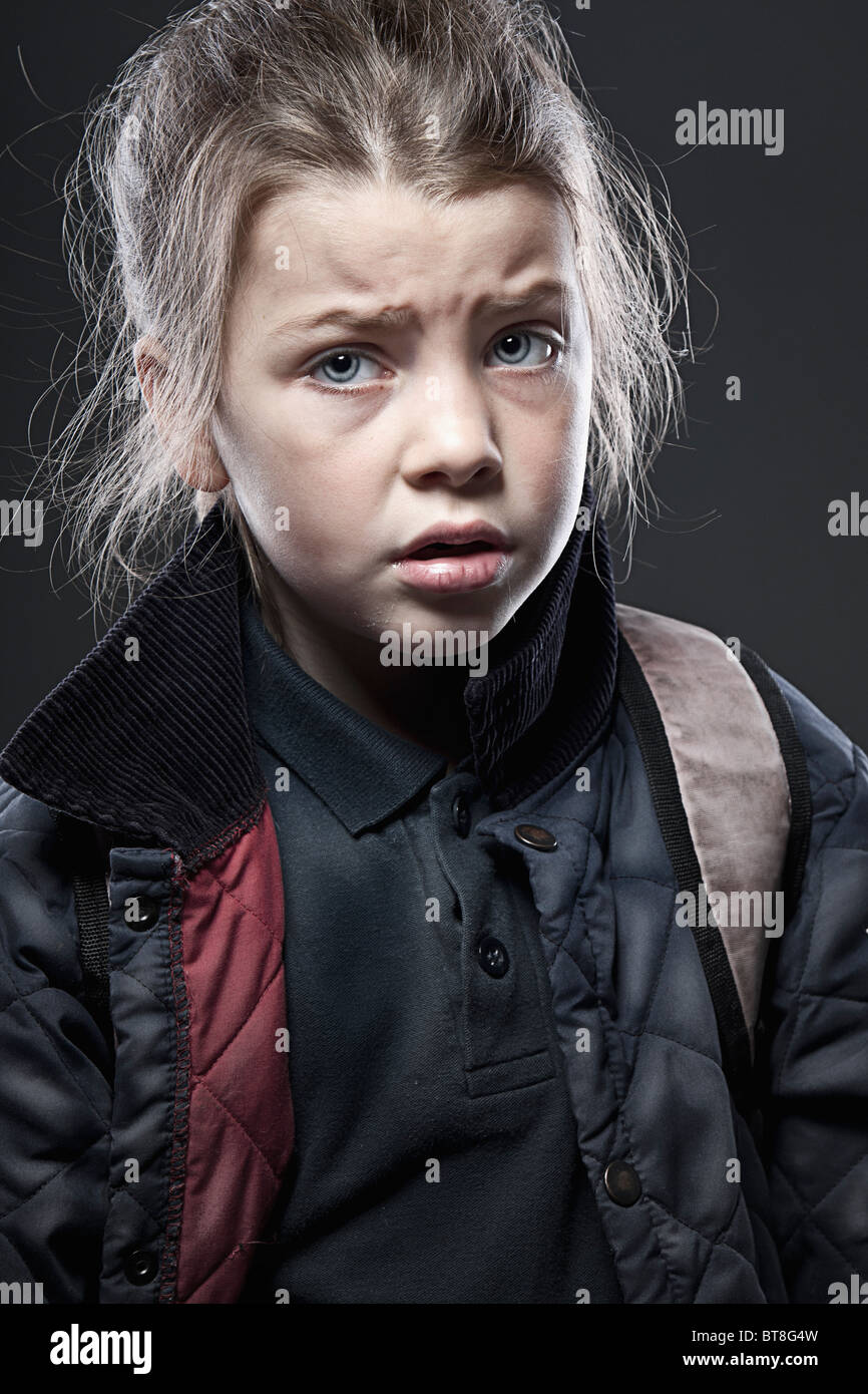 Shot of an Anxious Schoolgirl - First day at School/New School - Stock Image