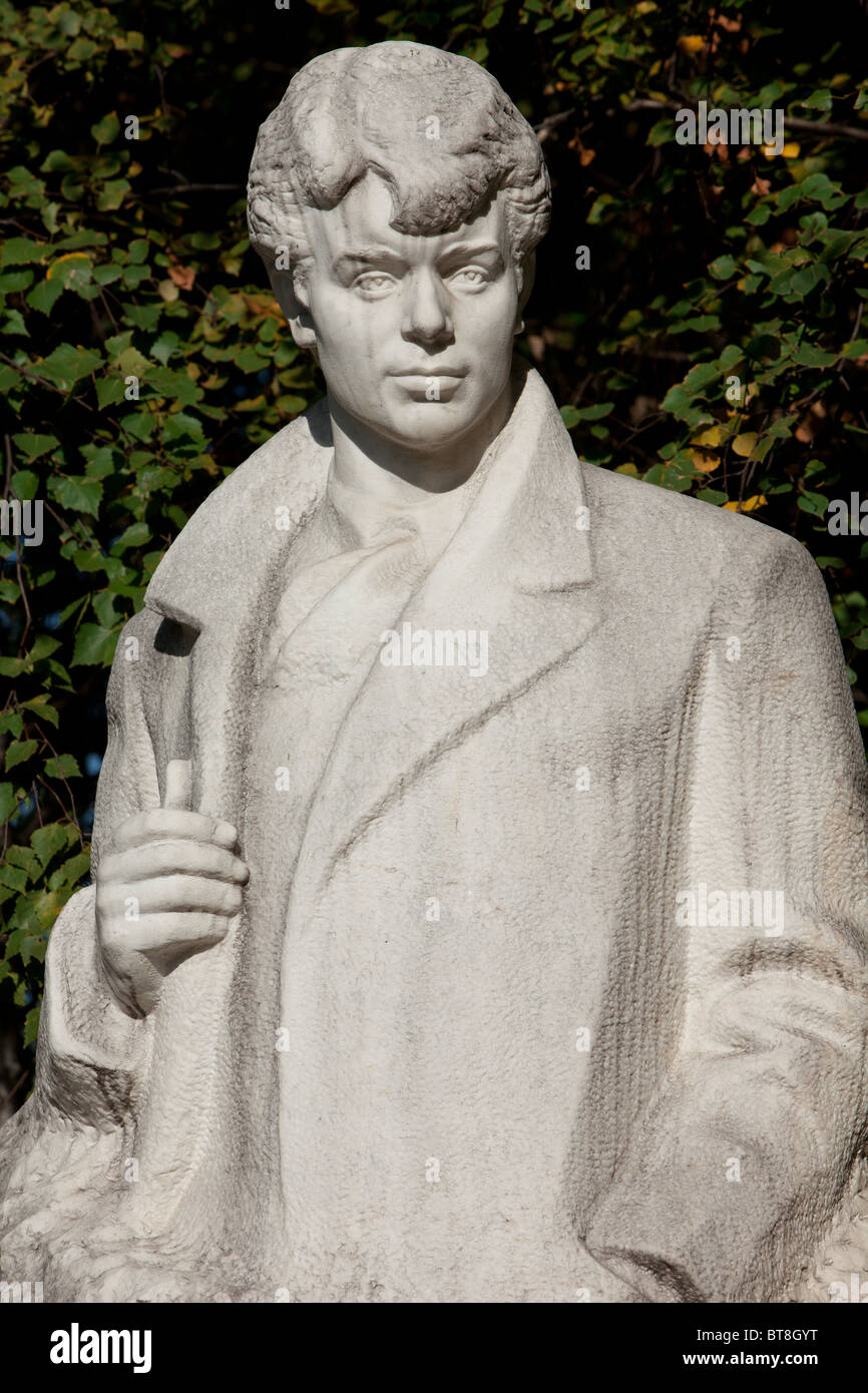 Statue of the Russian lyrical poet Sergei Yesenin in Moscow, Russia Stock Photo