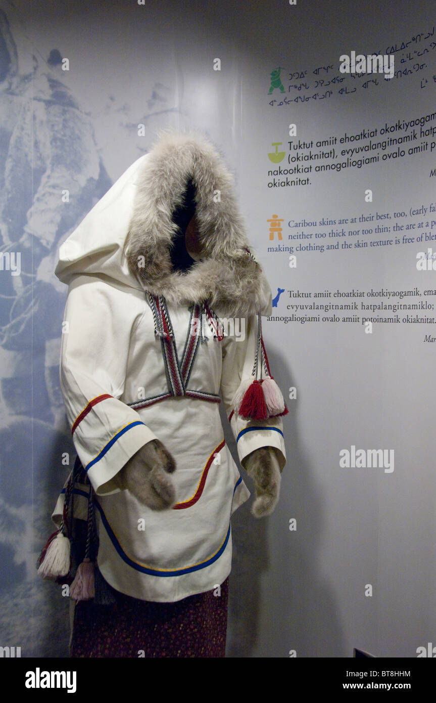 Arctic Canada, Nunavut, Baffin Island, Iqaluit (Frobisher Bay). Baffin Visitor Information Center. Display of traditional - Stock Image